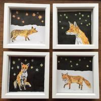 Night Fox illustrations, pencil and ink, framed, 15cm x 15cm. £35 each including postage.