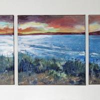 St Ives Bay from Godrevy, Acrylic on Canvas Tryptic