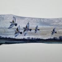 Starling Flock, Long Itchington, Acrylic on fence fragment