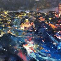 St Marys Church from Guys Tower, Warwick Castle. Oil on canvas. 80cm x 60cm.