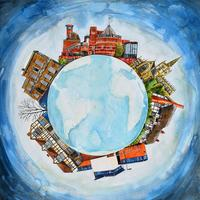Original painting-Stratford World 2. Mounted size 50cm x 50cm. £695.00