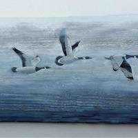 "Three flying Geese, acrylic on fence panel   60"" x 17"""