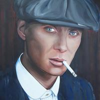Tommy Shelby, Peaky Blinders, oil on canvas. Original oil 50cm x 50cm £450.00, archival prints £110 inc mount.