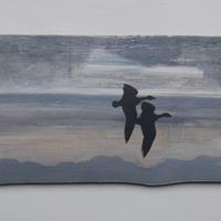 Two geese flying near the Greenway, acrylic on broken fence panel