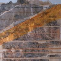 Unconformity.     Mixed media collage. 2019.     A geological term relating to breaks and slippages  in  geological  strata
