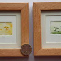 """'We Two',  tiny 'postage stamp' size 35 x 23 mm, frame 4"""" square (£20 each)"""