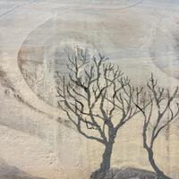 Windswept trees, detail , acrylic on on reclaimed fence panel