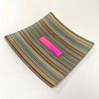 Stripes/Rainbow - Large fused glass square artwork