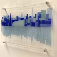 Coventry Blues - Fused glass cityscape wall art