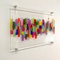 Neon NYC - Fused glass cityscape wall art