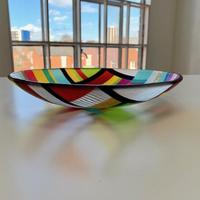 Tulip Fields - From Above - Fused glass bowl