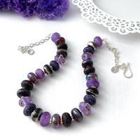 'Purple Rose' lampwork glass bead and silver necklace