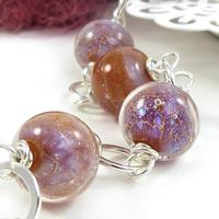 Star Queen Nebula Bracelet - lampwork glass beads and sterling silver