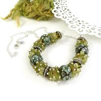 Mossy Necklace - Lampwork glass beads, gemstones and sterling silver