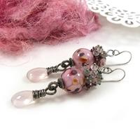 Cherry Blossom Earrings - lampwork glass beads, gemstones and sterling silver