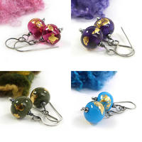 Glass bead earrings with gold leaf