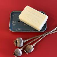 Soap dish with poppy seed head imprint