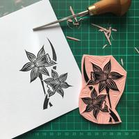 Daffodil - hand carved stamp greetings card