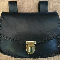 Individually hand crafted Black Leather belt bag, bum bag.  Other colours available.  Sits below the waistband for comfort & ease of movement, popular with horse riders, dog walkers & craft / trade fair exhibitors