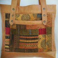 Tapestry & Leather shoulder bag,  tote bag, fully lined.  Two sizes & other colours available.  Hand Crafted in Warwickshire by 2MaddBags from pre loved Leather.