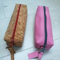 Cork or Leather Pencil Case, in a variety of colours, two sizes available.  Suitable as a pencil case, make up bag etc.  I use a large one to carry around all my sharp cutting tools & misc leather & fabric craft equipment.