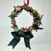 Tiny glass and woven birch twig Christmas wreath with garden birds