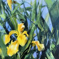 'Canal Iris and Bee', oil on board.