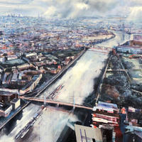 'London Aerial, Chelsea to the City', oil on canvas.