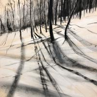 'Snow Shadows', charcoal on paper.