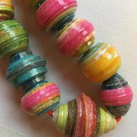 Paper beads. My own painted and printed paper