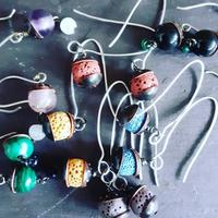 A selection of recycled copper, Lava Rock & Gemstone earrings with hand formed sterling silver ear wires