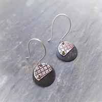 Recycled copper, textured disc earrings with hand formed sterling silver ear wires