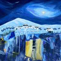 Bridge Mountain Cottages. Original Mixed Media Painting. Mounted Size 38cm x 38cm. Price £395