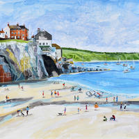 Cawsand, Cornwall. Original Mixed Media Painting. Framed Size 63.5cm x 63.5cm. Price £600
