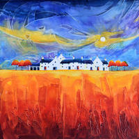 Dancing Moon Cottages 4. Original Mixed Media Painting. Framed Size 53cm x 53cm. Price £495