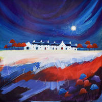 Dancing Moon Cottages 6. Original Mixed Media Painting. Framed Size 62cm x 62cm. Price £600
