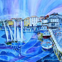 Falmouth, Cornwall. Original Mixed Media Painting. Framed Size 58cm x 58cm. Price £595
