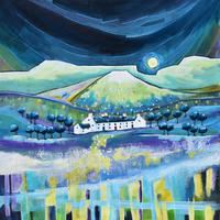 Moon Rise Mountain Cottages. Original Mixed Media Painting. Mounted Size 39cm x 39cm. Price £395