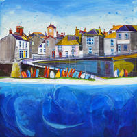Mousehole 2, Cornwall. Original Mixed Media Painting. Framed Size 36cm x 36cm. Price £350