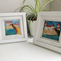 Scenes of St. Ives ( a pair) - felt and embroidery