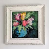 Tulips in Blue Vase - felt and embroidery