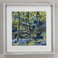 Original Framed Art- Trees on Blue and Yellow