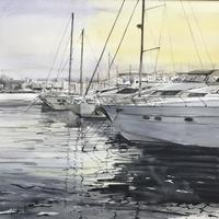 Dénia Harbour, Spain. Yachts in the Harbour. 20x16 inches mounted £450.00     inches £450
