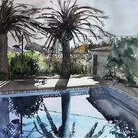 Sunrise at the pool. 400x400mm mounted and framed £140.00