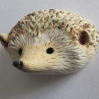 Small Hedgehog Mask; stoneware and oxides.