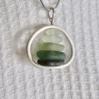 Green Ombre Seaglass Circle pendant necklace; sterling silver, seaglass.