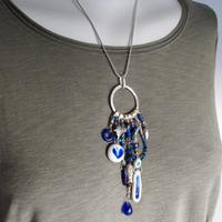 Ocean Blues Treasure necklace, sterling silver and mixed media.