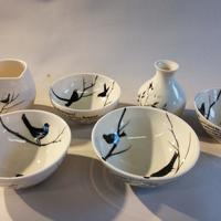 Blackbird Poetry bowls and jugs in porcelain
