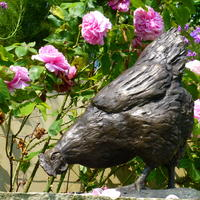 Hen in bronze resin.  Limited edition sculpture.