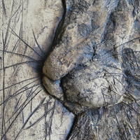 Detail of bas relief of hare in stoneware clay with oxides